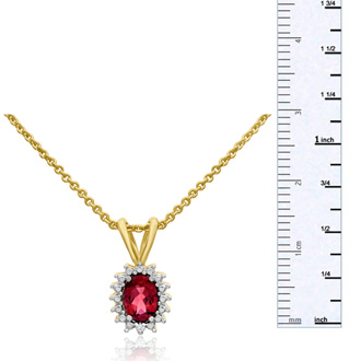 3/4ct Created Ruby and Diamond Halo Necklace