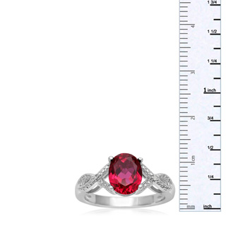 2 1/2 Carat Oval Shape Ruby and Diamond Infinity Ring