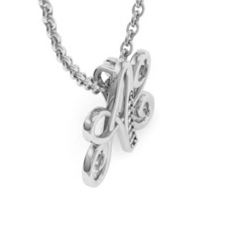 White Gold Serif A Initial Necklace With 6 Diamonds