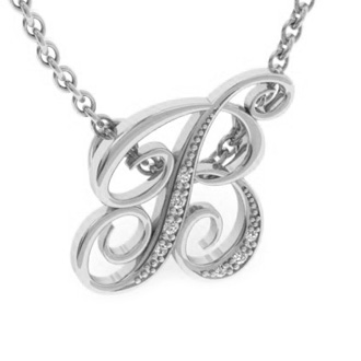 White Gold Serif B Initial Necklace With 7 Diamonds