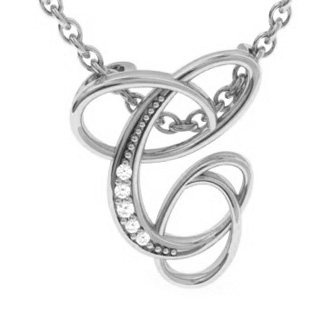 White Gold Serif C Initial Necklace With 5 Diamonds