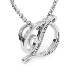 White Gold Serif D Initial Necklace With 7 Diamonds