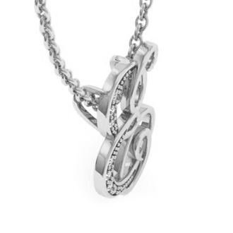 White Gold Serif E Initial Necklace With 7 Diamonds