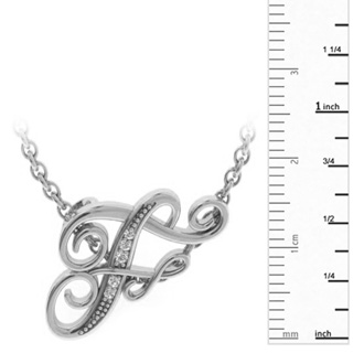 White Gold Serif F Initial Necklace With 5 Diamonds