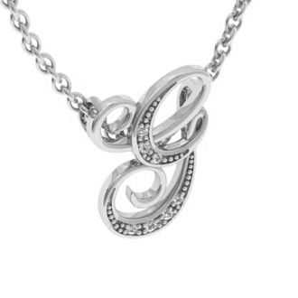 White Gold Serif G Initial Necklace With 7 Diamonds