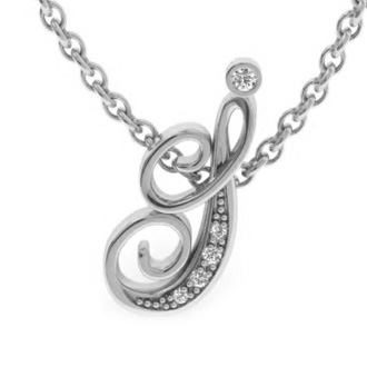 White Gold Serif I Initial Necklace With 5 Diamonds