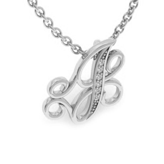 White Gold Serif J Initial Necklace With 6 Diamonds