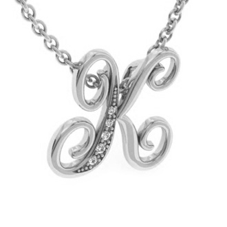 White Gold Serif K Initial Necklace With 5 Diamonds