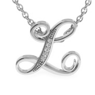 White Gold Serif L Initial Necklace With 5 Diamonds