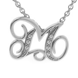 White Gold Serif M Initial Necklace With 7 Diamonds