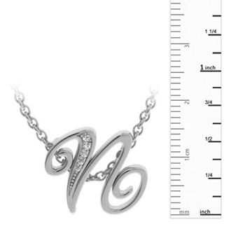 White Gold Serif N Initial Necklace With 5 Diamonds