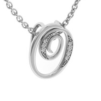 White Gold Serif O Initial Necklace With 7 Diamonds