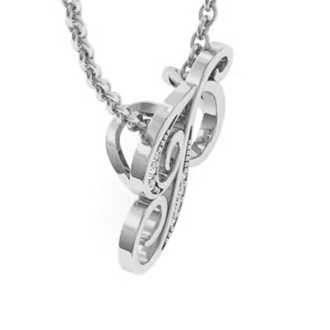 White Gold Serif P Initial Necklace With 7 Diamonds