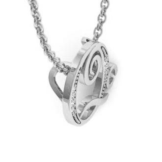 White Gold Serif Q Initial Necklace With 7 Diamonds