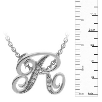 White Gold Serif R Initial Necklace With 7 Diamonds