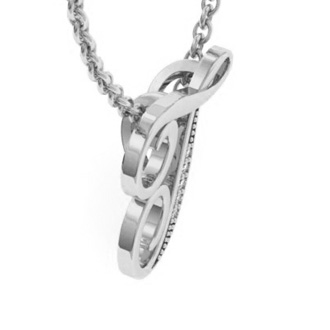 White Gold Serif T Initial Necklace With 5 Diamonds