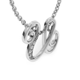 White Gold Serif U Initial Necklace With 4 Diamonds