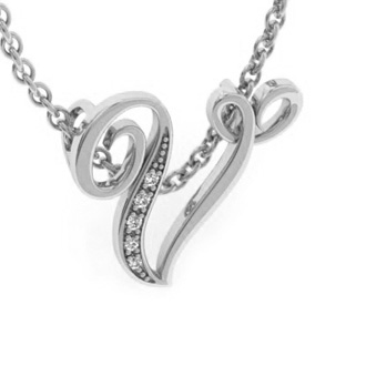 White Gold Serif V Initial Necklace With 5 Diamonds