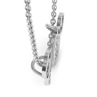 White Gold Serif W Initial Necklace With 7 Diamonds