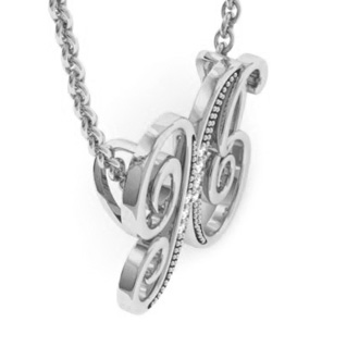 White Gold Serif X Initial Necklace With 7 Diamonds