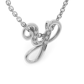 White Gold Serif Y Initial Necklace With 6 Diamonds
