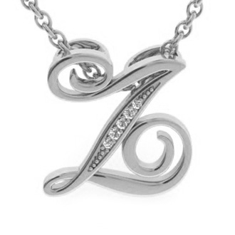 White Gold Serif Z Initial Necklace With 5 Diamonds