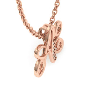 Rose Gold Serif A Initial Necklace With 6 Diamonds