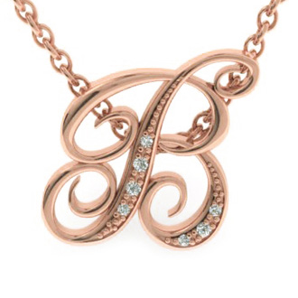 Rose Gold Serif B Initial Necklace With 7 Diamonds