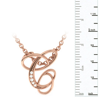 Rose Gold Serif C Initial Necklace With 5 Diamonds