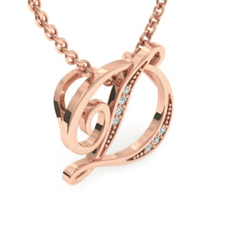 Rose Gold Serif D Initial Necklace With 7 Diamonds