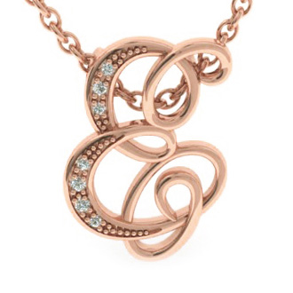 Rose Gold Serif E Initial Necklace With 7 Diamonds