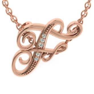 Rose Gold Serif F Initial Necklace With 5 Diamonds