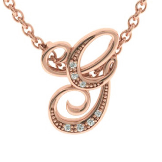 Rose Gold Serif G Initial Necklace With 7 Diamonds
