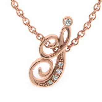 Rose Gold Serif I Initial Necklace With 5 Diamonds
