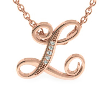 Rose Gold Serif L Initial Necklace With 5 Diamonds