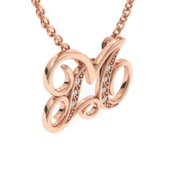 Rose Gold Serif M Initial Necklace With 7 Diamonds