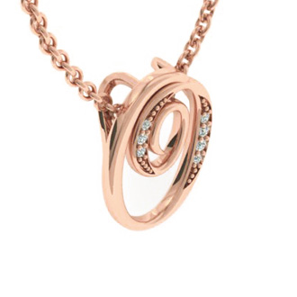 Rose Gold Serif O Initial Necklace With 7 Diamonds