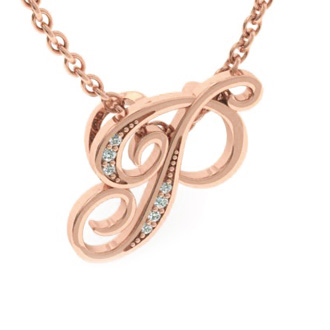 Rose Gold Serif P Initial Necklace With 7 Diamonds