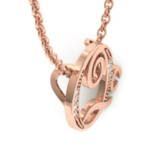 Rose Gold Serif Q Initial Necklace With 7 Diamonds