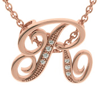 Rose Gold Serif R Initial Necklace With 7 Diamonds