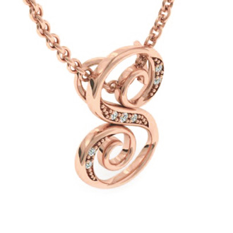 Rose Gold Serif S Initial Necklace With 7 Diamonds