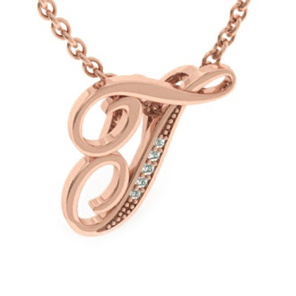 Rose Gold Serif T Initial Necklace With 5 Diamonds
