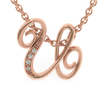 Rose Gold Serif U Initial Necklace With 4 Diamonds