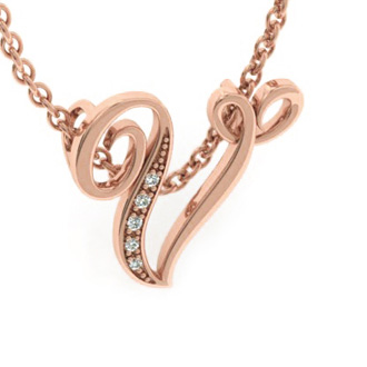Rose Gold Serif V Initial Necklace With 5 Diamonds