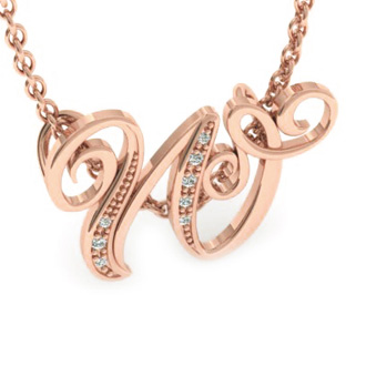Rose Gold Serif W Initial Necklace With 7 Diamonds
