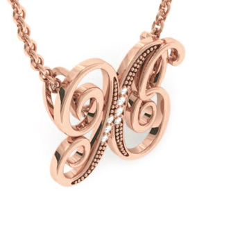 Rose Gold Serif X Initial Necklace With 7 Diamonds