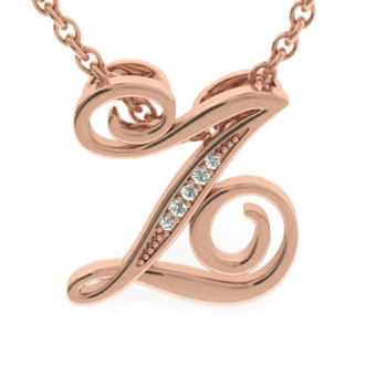 Rose Gold Serif Z Initial Necklace With 5 Diamonds
