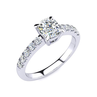 1 1/3 Carat Traditional Diamond Engagement Ring with 1 Carat Center Cushion Cut Solitaire In White Gold