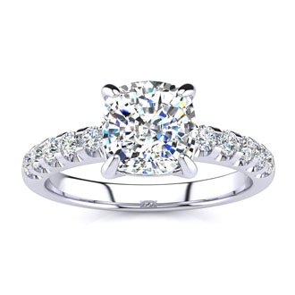 2.30-carat Traditional Diamond Engagement Ring with 2-carat Center Cushion Cut Solitaire in White Gold