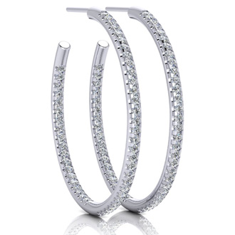 1ct Diamond Hoop Earrings in 14k White Gold